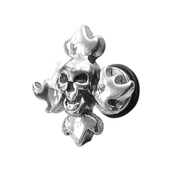 Fake piercing with skull and flames