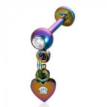 Anodized steel dangle heart labret