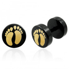 False piercing in black colour with two feet - pair