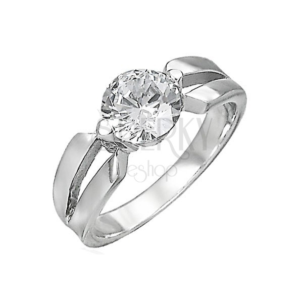 Engagement ring made of surgical steel, big clear zircon, cutouts on shoulders