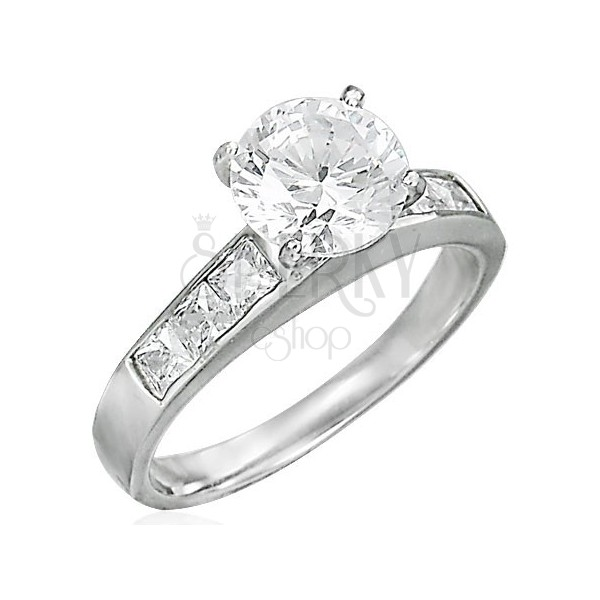 Engagement ring with protruding zircon