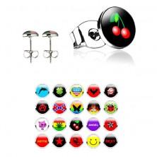 Stud steel earrings, various patterns, clear glaze