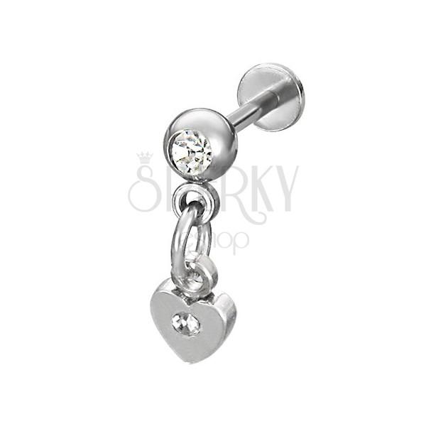 Dangle heart chin labret in silver color