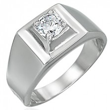 Stainless steel ring - protruding square zircon