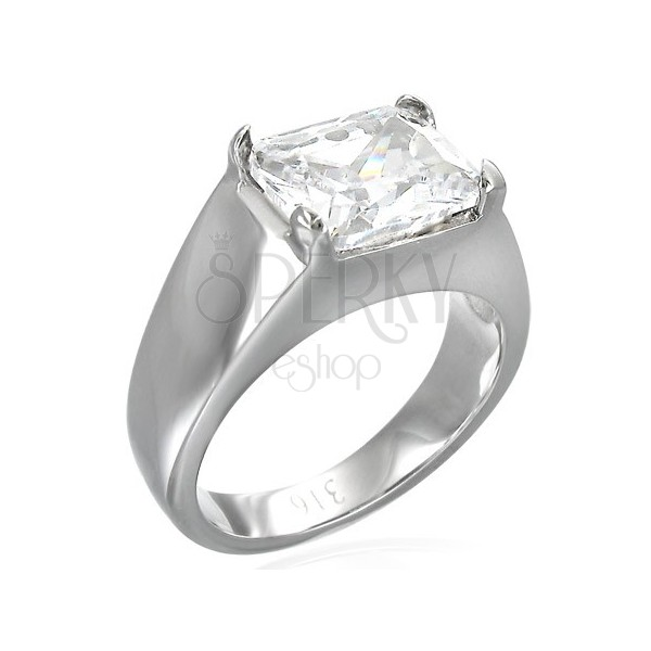 Massive ring with rectangular zircon