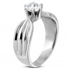 316L steel woman's ring with clear zircon and indents on the sides