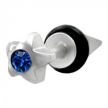 Fake piercing - star with blue gem stone