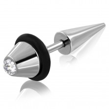 Fake plug made of surgical steel, truncated cone with zircon and rubber band