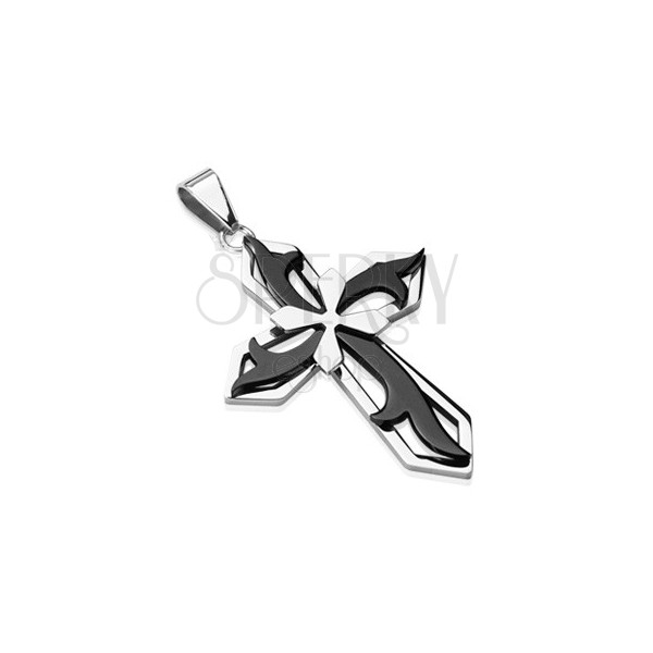 Pendant made of surgical steel - cross in black and silver colour combination