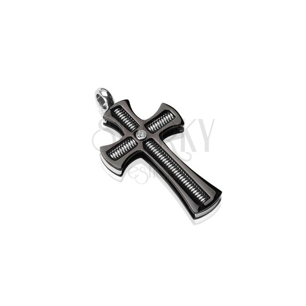 Pendant made of surgical steel - black cross with a threaded rod and clear zircon