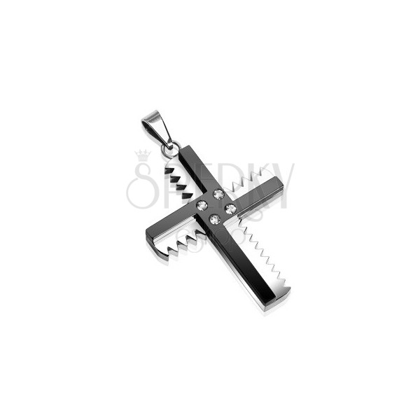 Stainless steel saw cross pendant