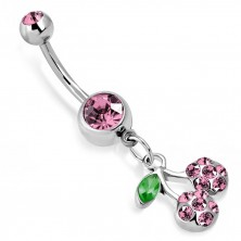 Belly piercing - cherries on peduncle with leaf, glittery cut zircons