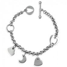 Charm steel bracelet with hearts and moon