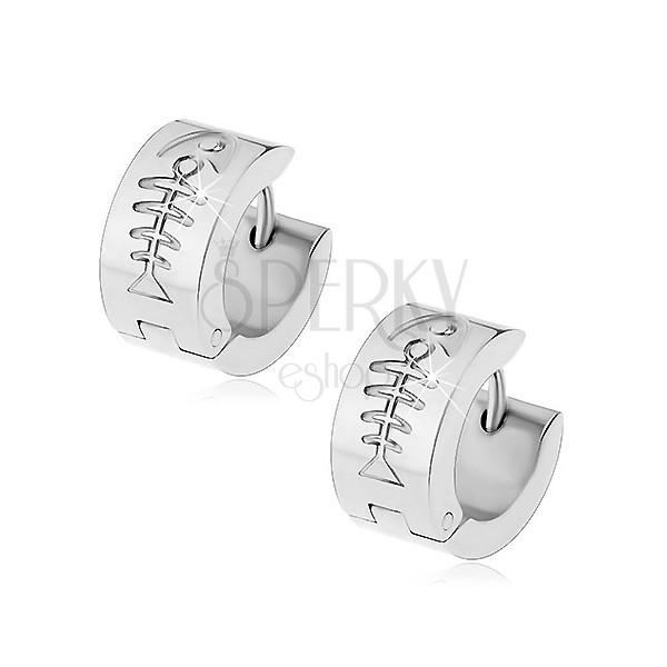 Steel hinged snap earrings in silver colour, fishbone imprint