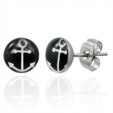 Stud steel earrings with white anchor symbol on black circle
