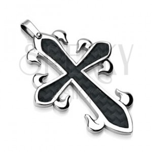 Surgical steel pendant - cross with black fiber pattern