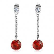 Earrings made of 316L steel with large red zircon on a chain
