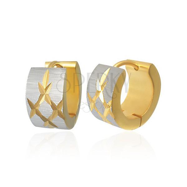 Earrings made of 316L steel with cut rhombus, bicoloured