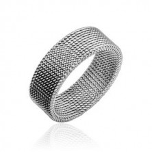 Steel ring of silver colour with extricated netted pattern