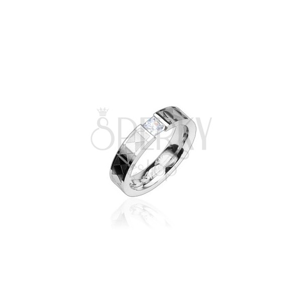 Steel ring - clear zircon, patterned band