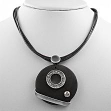 Round wooden pendant with zirconic circle