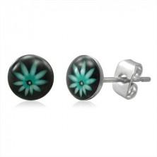 Stud steel earrings - green ganja leaf