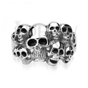 Stainless steel ring with 10 skulls
