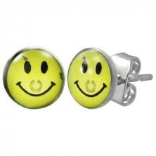 Steel earrings - yellow smiley with horseshoe, studs