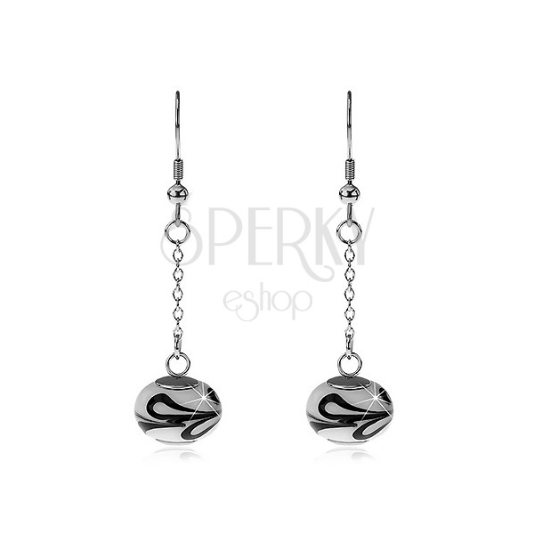 Earrings made of surgical steel - bicoloured bead
