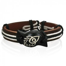 Leather bracelet with symbol - devil eye in flames