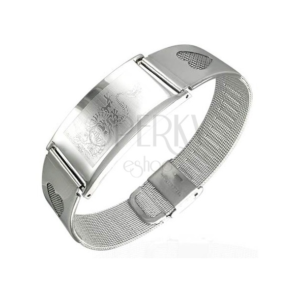 Steel mesh bracelet with hearts and ID plate - dragon