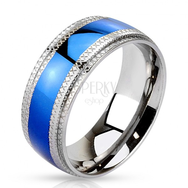 Steel ring - blue strip in the center, notched edges