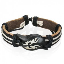 Bracelet made of leather - Tribal symbol on wooden wave
