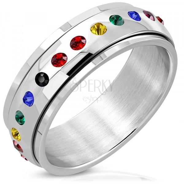 Glossy steel ring - circular centre, zircon of rainbow colours