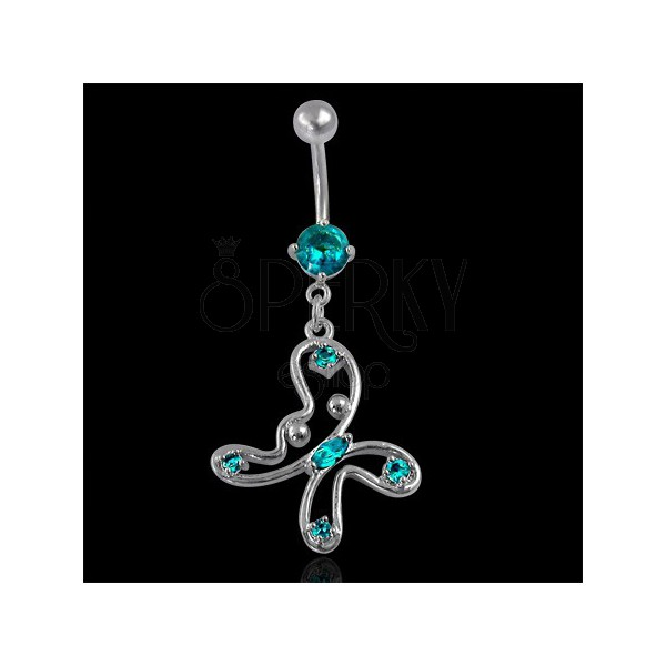 Butterfly belly ring in turquoise-green colour