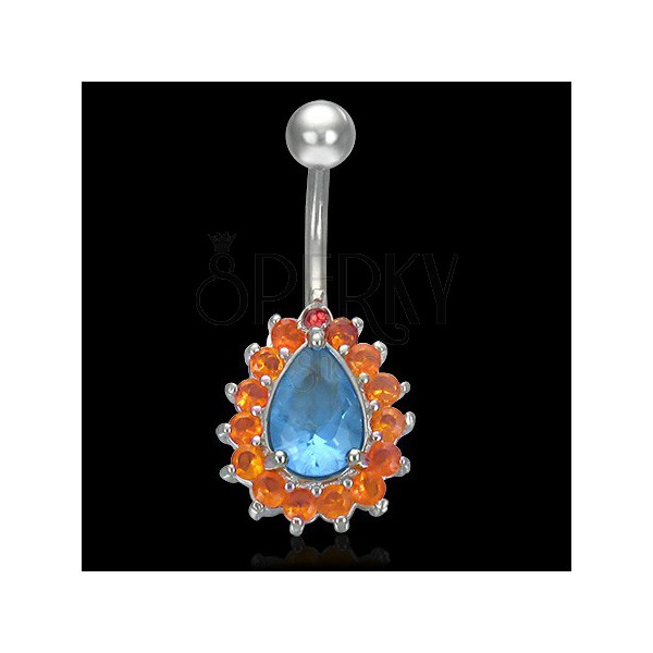 Drop belly ring with balls