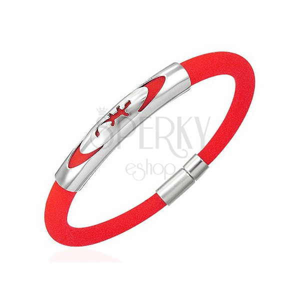 Rubber bracelet - round, red, lizard in ellipse