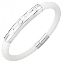 White round silicone bangle - hearts