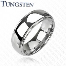 Shiny tungsten ring with protruding middle part