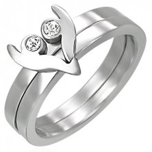 Two-piece stainless steel ring - heart with zircons