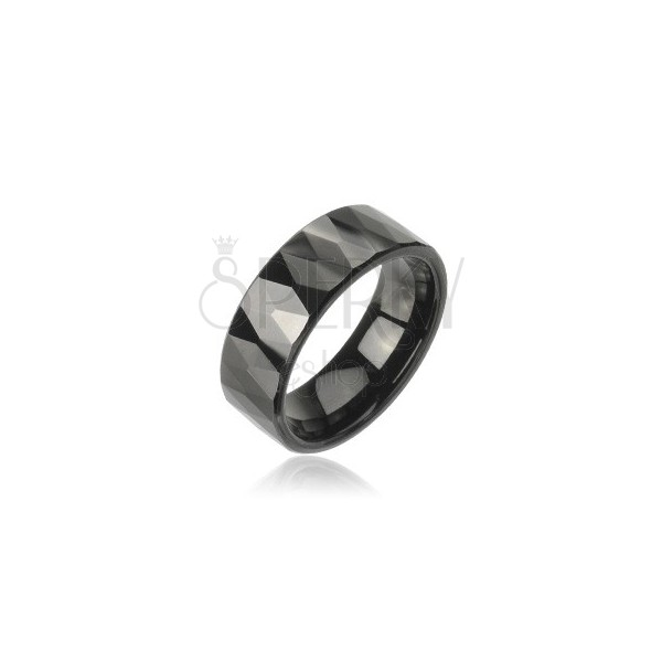 Tungsten ring with pattern of cut black rhombuses