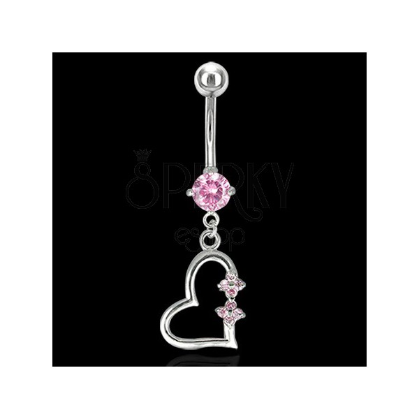 Decorative heart belly ring