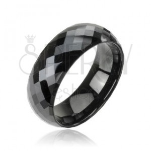Black tungsten ring with disco pattern