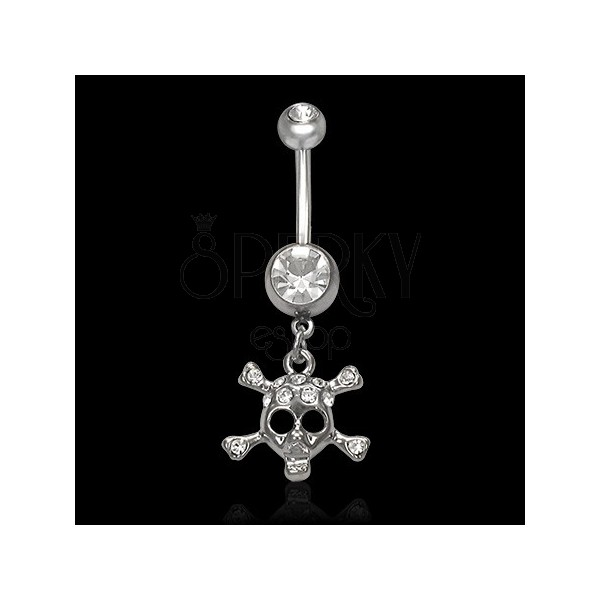 Skull belly button ring with zircons