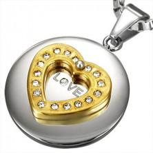 Stainless steel pendant - golden heart with zircons
