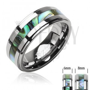 Tungsten ring in silver colour, middle strip with shell pattern