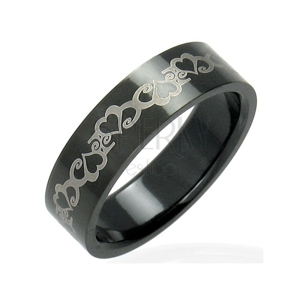 Black stainless steel ring with hearts