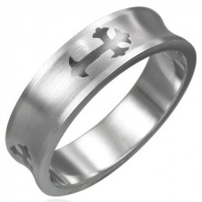 Concave stainless steel ring with cross