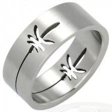 Stainless steel ring with pot leaf design