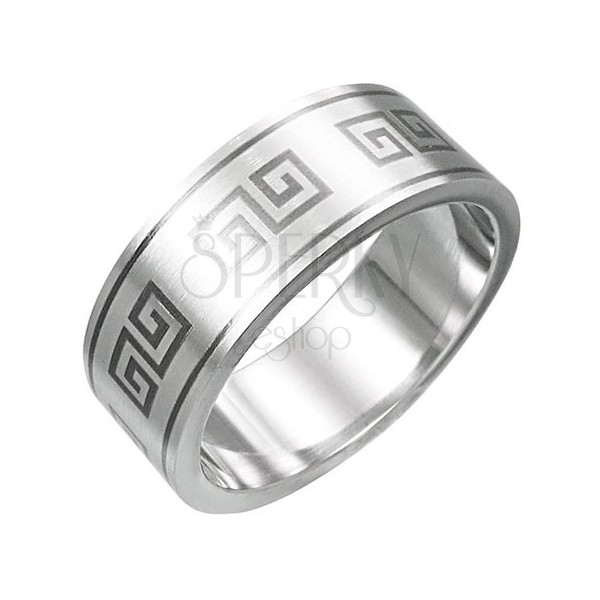 Stainless steel ring - Greek key pattern
